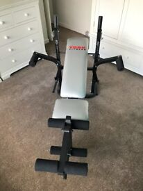 Weight Training Bench - incl. barbell and dumbell bars, grips and various weight discs
