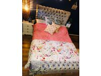 """Double bed excellent condition, velvet"""" cristals """" plus FREE lamp"""