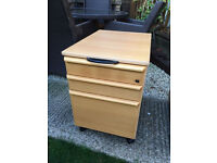 Lovely 3 drawer cabinet on castors, home or office, vgc, no key