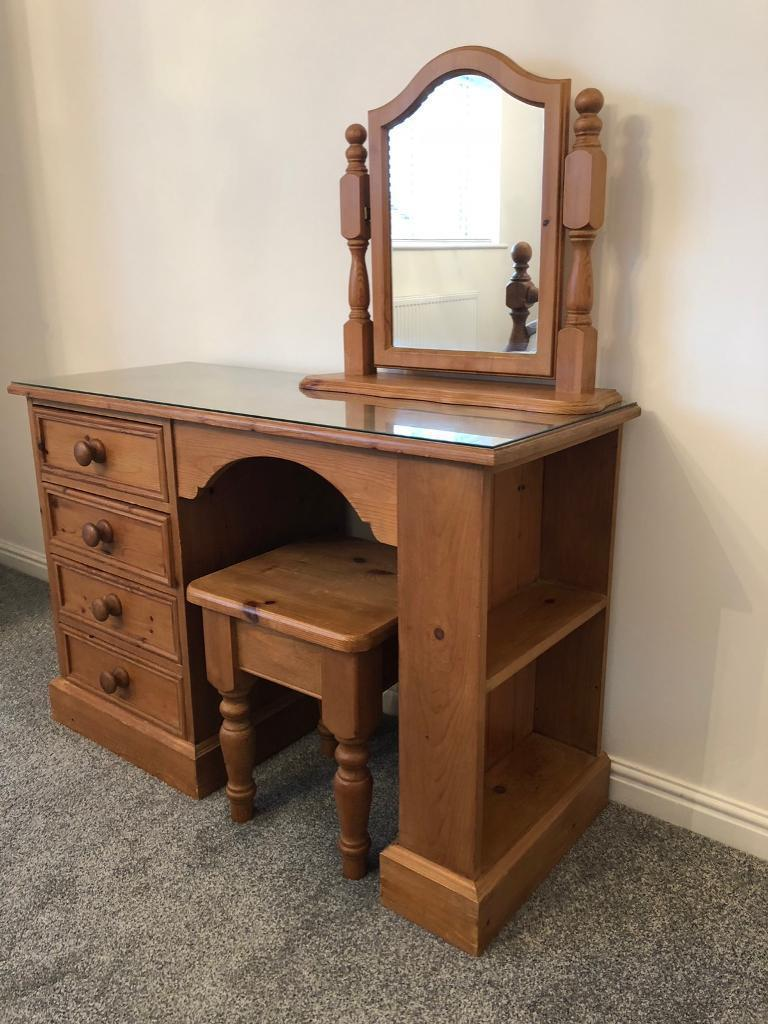 Mirrored Vanity Table And Stool: Antique Pine Dressing Table With Stool And Mirror