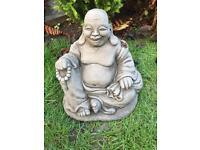 Stone garden jolly Buddha statue, fantastic detail. New