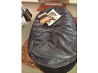 Dark Brown 'faux leather' beanbag, in excellent condition