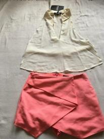 New Topshop pink wrap around Short And cream misguided halter neck top set £20