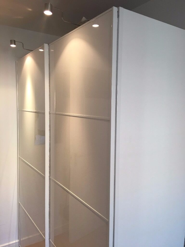 Ikea Pax Sliding White High Gloss Wardrobe