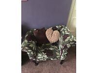 2 Designer Plum & Grey Chaise Long Armchairs & Stool