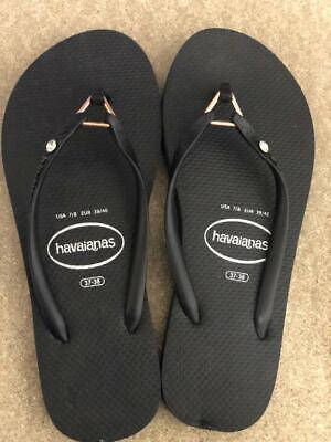 Havaianas Slim WOMENS Flip Flops Sandals BLACK Diamond