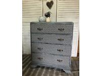 Refurbished chest of drawers with decoupage