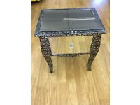 Mirrored blackened silver bedside table / side table