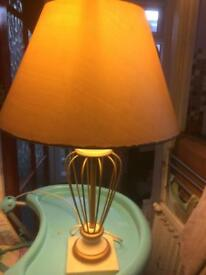 Large cream & gold side lamp & shade