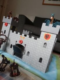 Wooden castle with Papo knights, horses and dragons
