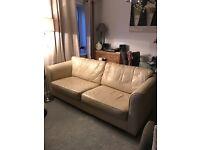 Free Large 3 seater cream leather sofa