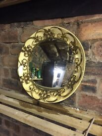Retro Vintage 60s Bevelled Mirror with Ornate metal flowers and swirls