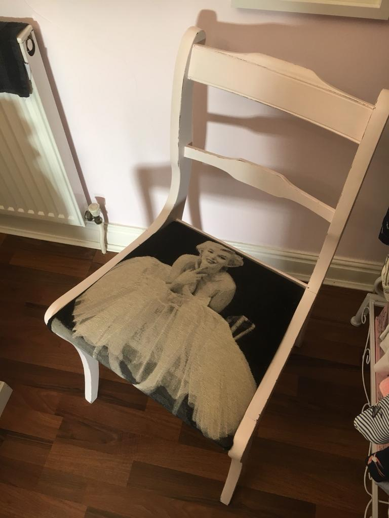 Shabby chic painted chair Marilyn Monroe