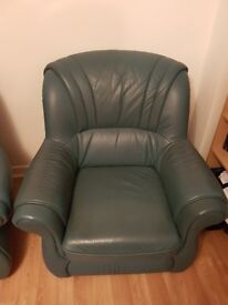 Italian leather suite, 4 piece green, with LongLife Italian leather cleaner