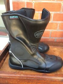 Black motorbike boots, size 9/10, immaculate condition