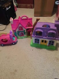 Rosebud cottage, fisher price little people house and minnie mouse car