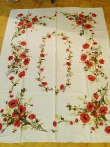 Vintage Linen Tablecloth 46x64 Christmas Dinner MINT Floral Prints Flowers Roses Red Silk Screen Retro 60s