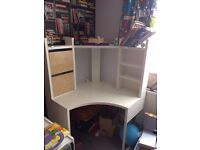ikea white corner desk with red chair
