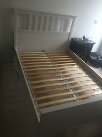"Solid Wood, Ikea, Double Bed, White, ""HEMNES"" bargain at £60"