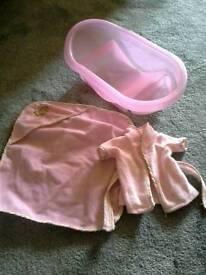 Dolls bath set - pink bath, towel and dressing gown