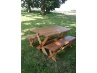 Garden dining solid oak table and benches