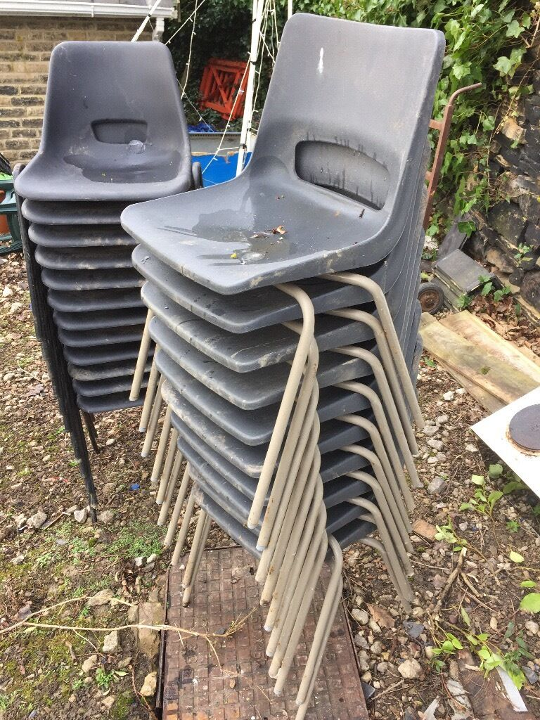 Chairs metal legs plastic seatin Rawdon, West YorkshireGumtree - Chairs metal legs with plastic seat will be cleaned before sold, , small areas of surface rust on some of the legs but a good strong chair . 22 in total £5.00 each chair