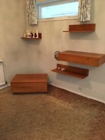 Modular furniture. Floating shelves and drawers.