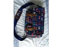 Butterfly oil cloth satchel