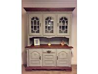Beautiful unique fully refurbished Welsh dresser in chalk French grey finish