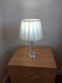 2 beautiful bedside lamps . Lovely glass base and silk shade