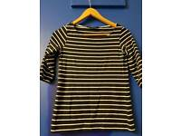 French Connection stripe navy & white top. Size XS