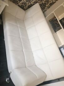 Venice Faux Leather Sofa Bed-Off White