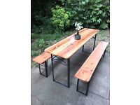 TABLE + BENCHES - BRAND NEW - BERLIN STYLE - INDOOR / OUTDOOR