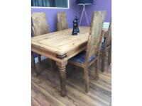 Pine dining table & 4 dining chairs