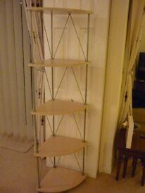 4 shelf corner unit. Light wood and metal