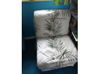 2x single folding z bed/ chairs grey with leaf pattern covers