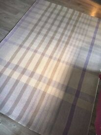 Purple/beige check rug (Next, 90% wool)