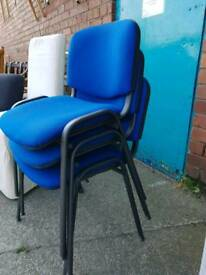 Stackable blue chairs x3