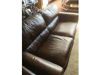 2 Brown leather 2 seater sofas for sale