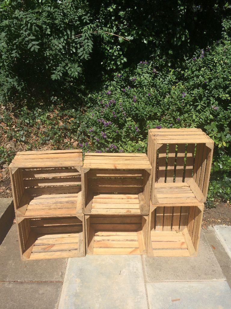 Vintage Wooden Crates Shabby Chic Rustic Old Fruit Bushel