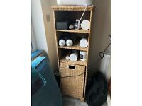 Bathroom whicker cabinet, with integral linen basket and shelving