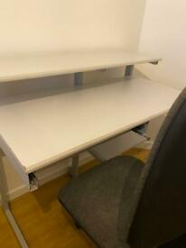Computer Table With Keyboard Tray and Office Chair