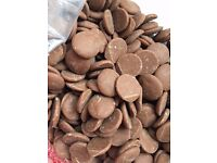 Chocolate Barns Milk Chocolate for Chocolate Fountains Buttons 10kg Box New