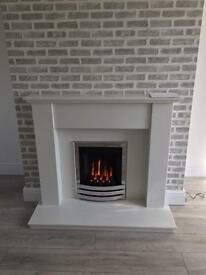White marble fireplace led lights