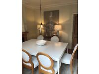 Large Contemporary White Dinning Table And Six Chairs