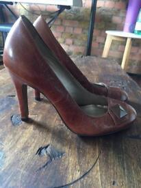 Dune Tan Leather Heels - size 38