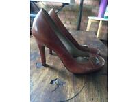 Dune Tan Leather Heels - size 38
