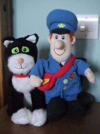 Singing Talking Postman Pat and Meowing Jess Cat Plush Soft Toys.