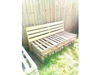 Wooden palette benches for sale.