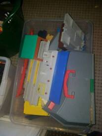 Two large tubs of thomas track